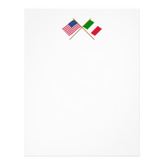 US and Italy Crossed Flags Letterhead
