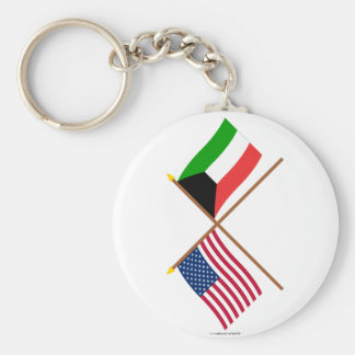 US and Kuwait Crossed Flags Keychain