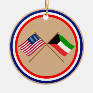 US and Kuwait Crossed Flags Round Ceramic Ornament