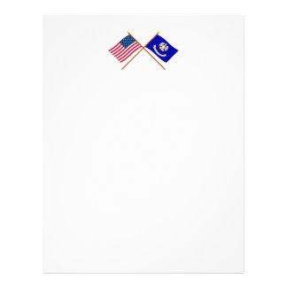 US and Louisiana Crossed Flags Letterhead