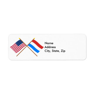 US and Luxembourg Crossed Flags Return Address Label
