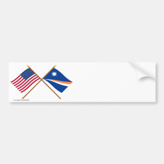 US and Marshall Islands Crossed Flags Bumper Sticker