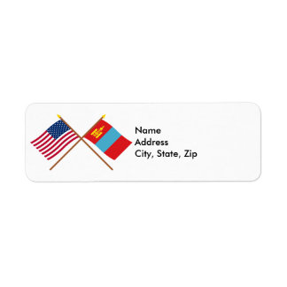 US and Mongolia Crossed Flags