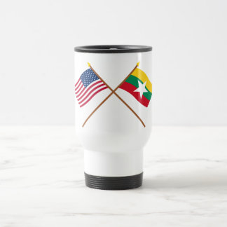 US and Myanmar Crossed Flags Travel Mug