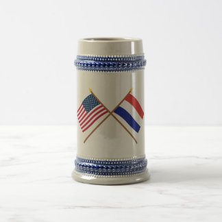 US and Netherlands Crossed Flags Beer Stein