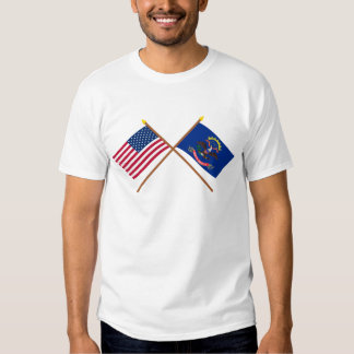 US and North Dakota Crossed Flags Tee Shirt