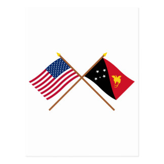 US and Papua-New Guinea Crossed Flags Postcard