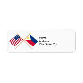 US and Philippines Crossed Flags Return Address Label