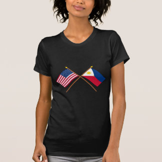 US and Philippines Crossed Flags Shirts