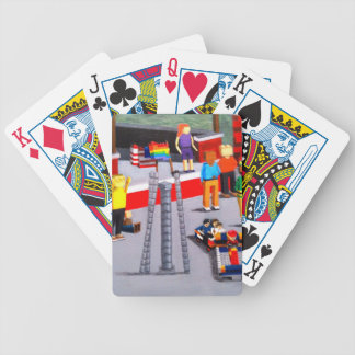 US and Pride Flags made of blocks Bicycle Playing Cards