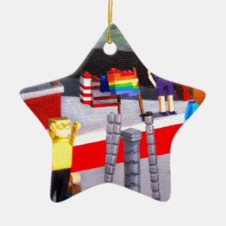 US and Pride Flags made of blocks Ceramic Ornament