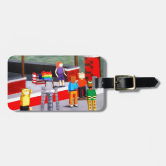 US and Pride Flags made of blocks Luggage Tag