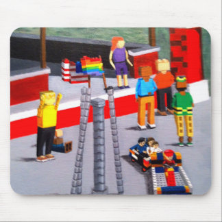 US and Pride Flags made of blocks Mouse Pad