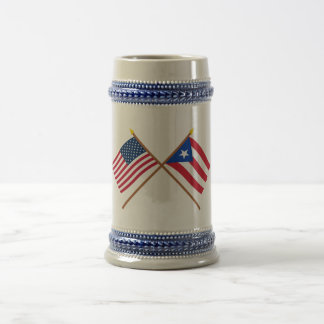 US and Puerto Rico Crossed Flags Beer Stein