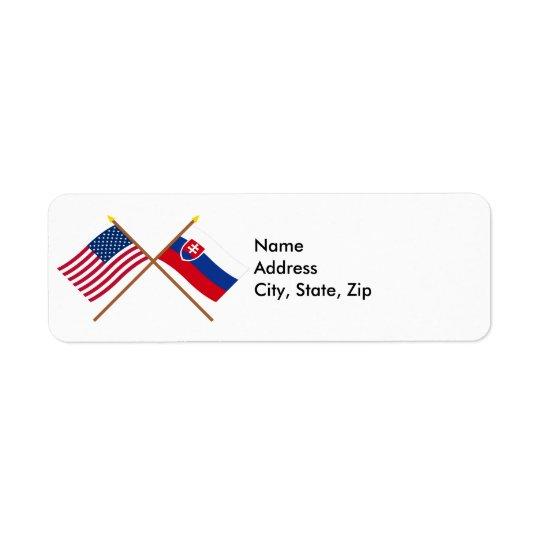 US and Slovakia Crossed Flags Return Address Label