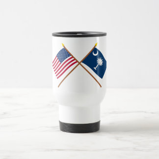US and South Carolina Crossed Flags Travel Mug