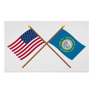 US and South Dakota Crossed Flags Poster