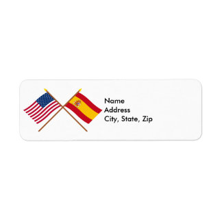 US and Spain Crossed Flags