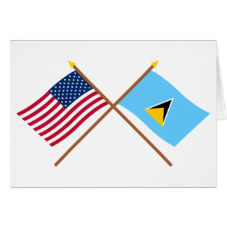 US and St Lucia Crossed Flags Card