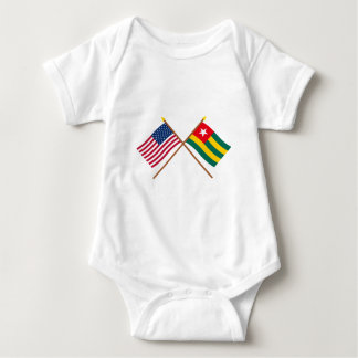 US and Togo Crossed Flags Baby Bodysuit