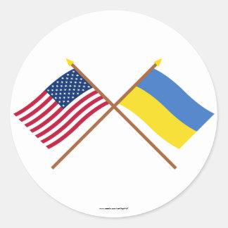 US and Ukraine Crossed Flags Sticker