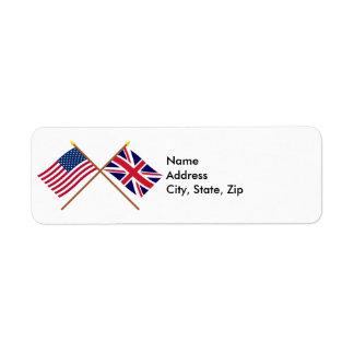 US and United Kingdom Crossed Flags