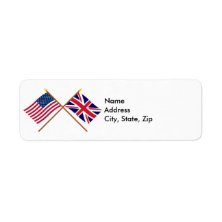 US and United Kingdom Crossed Flags Return Address Label