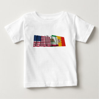 US, California and Los Angeles Flags Baby T-Shirt