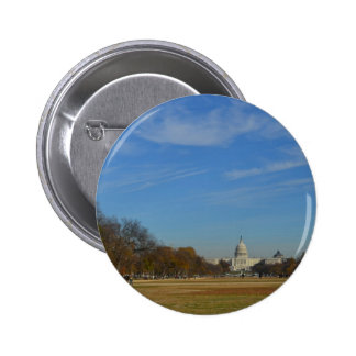 US Capitol across the Mall in Fall Pinback Button