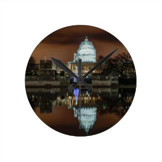 US Capitol Building at Night Wall Clocks