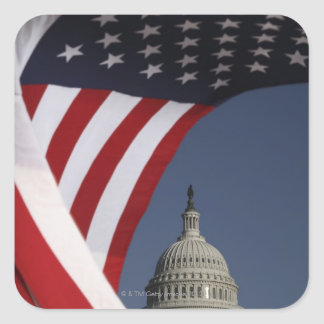 US Capitol with American flag Square Sticker