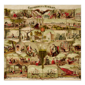 US Centennial History 1776-1876 Poster