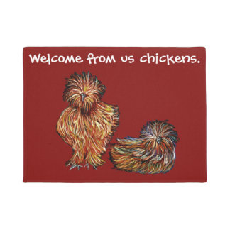 Us Chickens Welcome red doormat