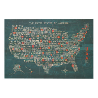 US City Map on Wood Blue Wood Canvases