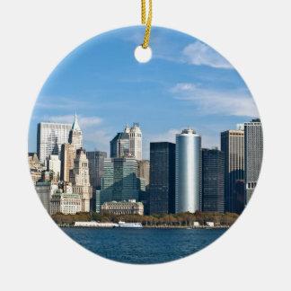 US Cityscape: New York Skyline #1 Round Ceramic Ornament