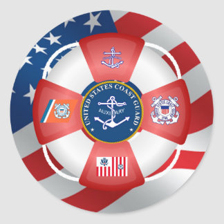 US Coast Guard Auxiliary Anchor Round Sticker
