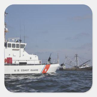 US Coast Guard Cutter Marlin patrols the waters Square Sticker