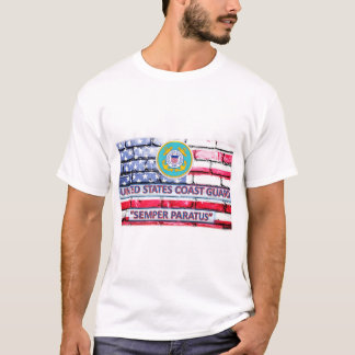 US Coast Guard Semper Paratus Motto Flag T-Shirt