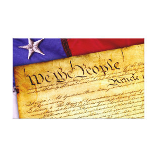 US Constitution and American Flag Canvas Print