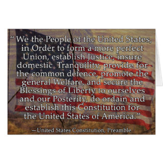 US Constitution Preamble Over Textured Background Card