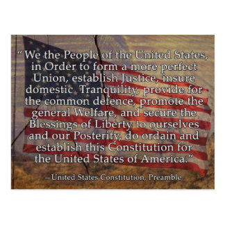 US Constitution Preamble Over Textured Background Postcard