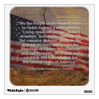 US Constitution Preamble Over Textured Background Wall Sticker