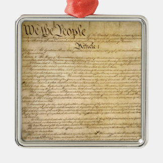 US Constitutional Freedoms - Know Your Rights! Silver-Colored Square Ornament