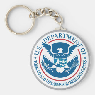 US Department of Tobacco and Firearms and Beer Basic Round Button Keychain