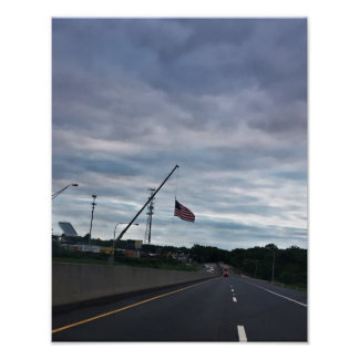 US Flag above Highway Poster