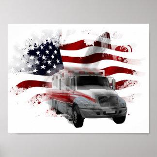 US Flag Ambulance phone case EMT Paramedic Poster