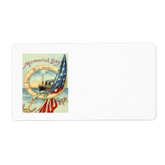 US Flag Anchor Flowers Life Preserver Shipping Label
