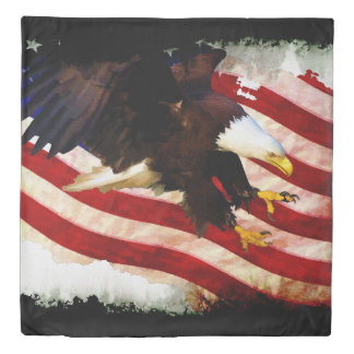 US Flag and Bald Eagle Patriotic Art Duvet Cover