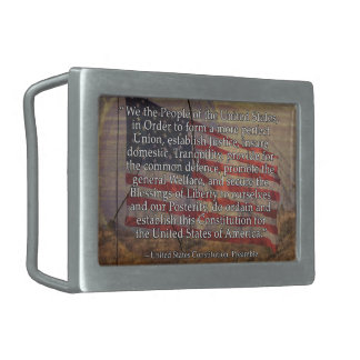 US Flag and Constitution Preamble Typography Belt Buckle
