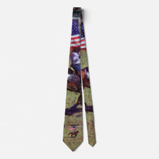 US Flag and Horse Cowgirl American Rodeo Art Tie